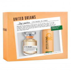 Kit Benetton United Dreams Stay Positive for Her EDT ( Perfume 80ml + Deo Spray 150ml )